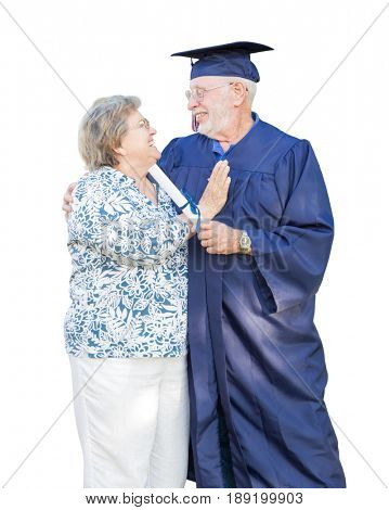 Senior Adult Man Graduate in Cap and Gown Being Congratulated By Wife Isolated on White.