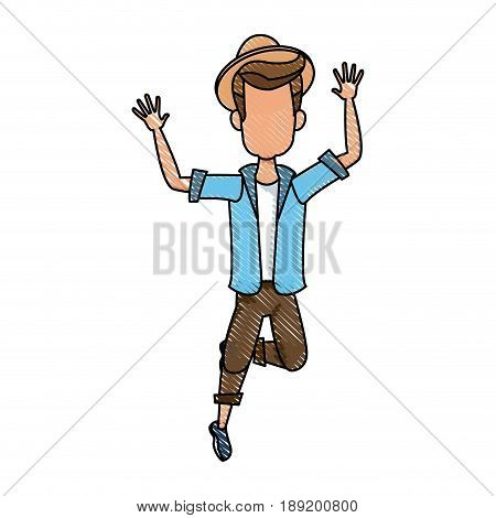 Vector illustration of a cartoon man jumping of happiness. Picture isolated on white background. Flat style. Joyful fun bouncing male. Adult boy leaping for joy. Happiness emotion.