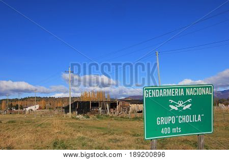 Signpost of the Cholila Police Station, those been chasing Butch Cassidy and Sundance Kid, Cholila, Argentina