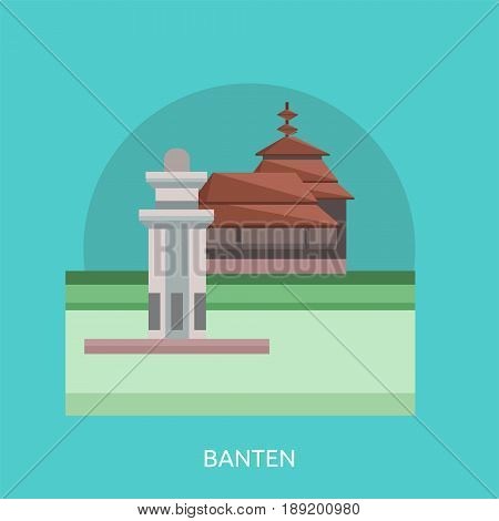 Banten City of Indonesia Conceptual Design | Set of great flat design illustration concepts for city, indonesian, travel and much more.