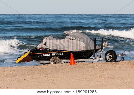 Lifeguard jet ski rescue vehicle at Mission Beach in San Diego, California.