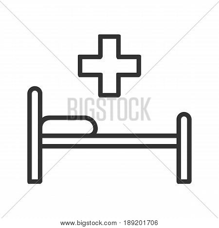 Hospital bed linear icon. Thin line illustration. Vector isolated outline drawing