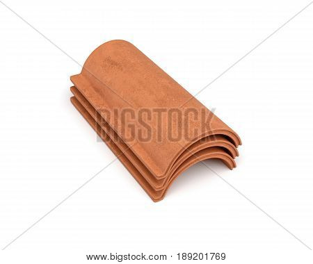 3d rendering of a small group roof tile lying in front view isolated on white background. Roof building. Construction supplies. Traditional building materials.