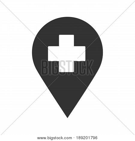 Hospital pinpoint icon. Silhouette symbol. Negative space. Vector isolated illustration