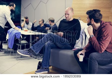 People Waiting Relax in Coffee Room During Break Time