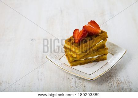 Belgian Waffles With Strawberry