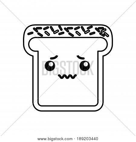 cute kawaii line icon bread slice vector grpahic design
