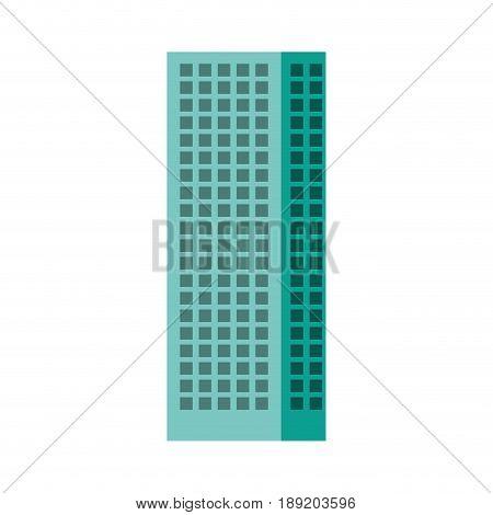 Blue aquamarine tall building cartoon vector graphic design