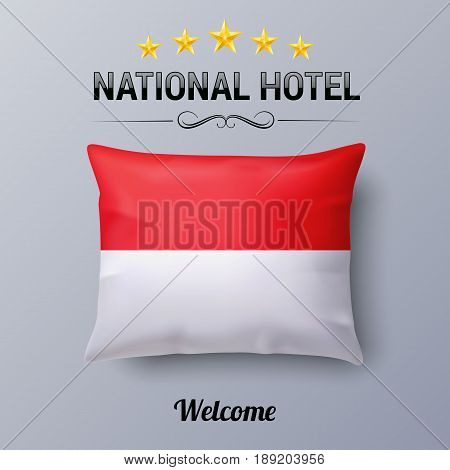 Realistic Pillow and Flag of Indonesia as Symbol National Hotel. Flag Pillow Cover with Indonesian flag