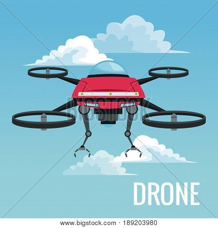 sky landscape background robot drone with metal arms and four airscrew vector illustration