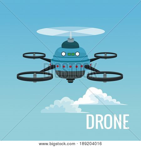 sky landscape background robot drone with five airscrew vector illustration