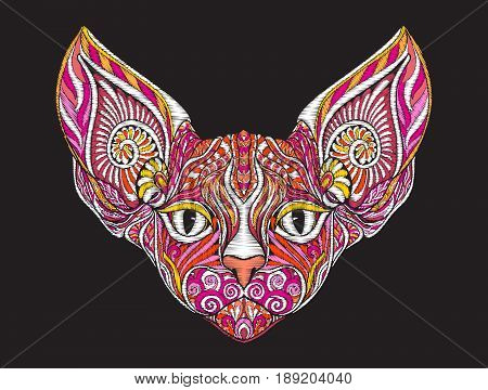 Embroidery ethnic patterned ornate head of sphinx cat. Stock vector illustration.