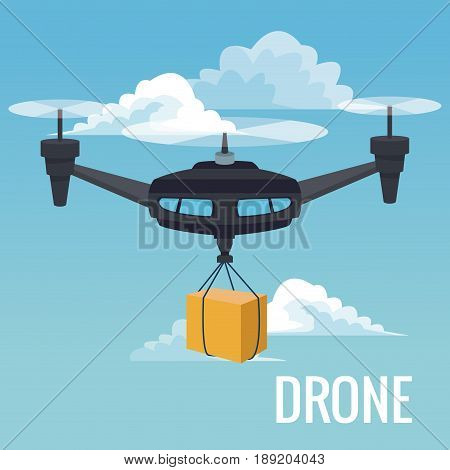 sky landscape background robot drone carrying box with three airscrew vector illustration