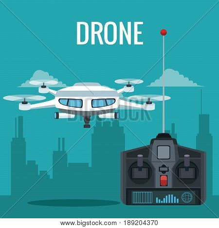 blue scene city landscape set remote control and white modern robot drone with four airscrew and pair of telescope vector illustration