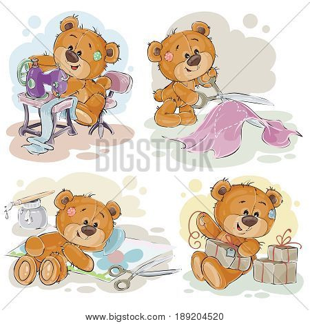 Set of clip art illustrations of teddy bears and their hand maid hobby - sewing, scrap booking