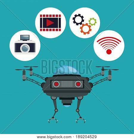 color background drone with metal arms and icons set tech robot vector illustration