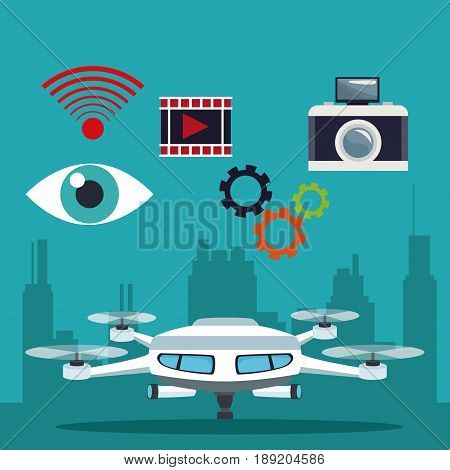 color background silhouette buildings and modern white drone with pair of teelscope and icons set tech robot vector illustration