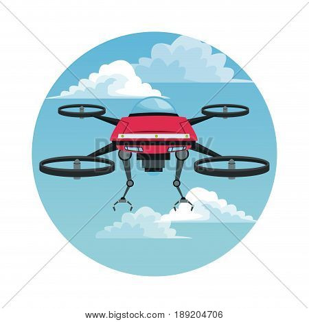 circular frame with sky landscape scene and red robot drone with metal arms and four airscrew vector illustration