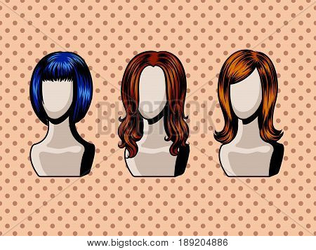 Female wigs comic book pop art retro style vector illustration