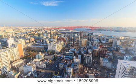 Bird eye view of Osaka bay from Tempozan ferris wheel Japan