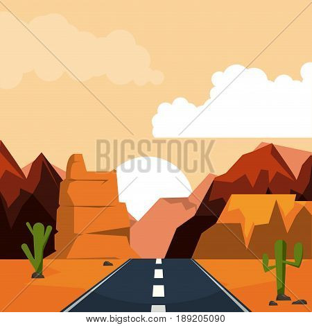 colorful background of desert sunset landscape with valley and mountains and highway vector illustration