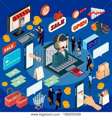3D isometric illustration concept of e-commerce, online store. High quality online shopping services since the choice of product and its payment, completing its delivery