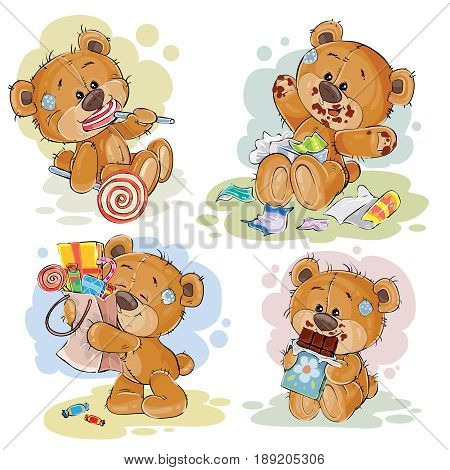 Set of clip art illustrations of teddy bear sweet tooth. Funny illustrations on the theme of love for sweets