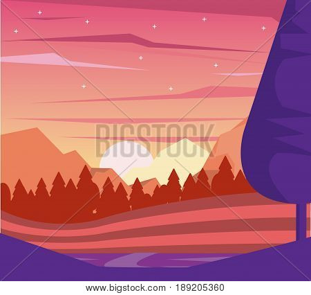 colorful background of dawn landscape of mountains and valley vector illustration
