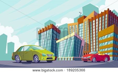 cartoon illustration of an urban landscape with large modern buildings and cars. Business city district with skyscrapers, modern apartment buildings. The concept of urban life.