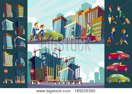 cartoon illustration of an urban landscape with large modern buildings, cars and urban residents. Construction site with unfinished buildings. The concept of urban life.