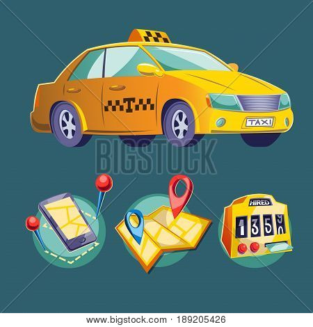 cartoon illustration on the theme of urban public road transport. Set cartoon icons for taxi service.