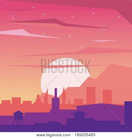 colorful background of dawn landscape of city with sun vector illustration