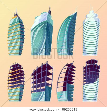 Set cartoon illustration of an abstract urban large modern buildings. Collection cartoon business city skyscrapers, modern apartment buildings, unfinished buildings.