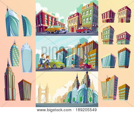 Set cartoon illustrations with old buildings, urban landscape with large modern buildings, cars and urban residents. The concept of urban life.