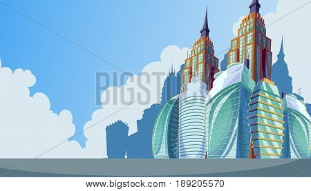 cartoon illustration of an urban landscape with large modern buildings. Business city district with skyscrapers, modern apartment buildings. The concept of urban life.