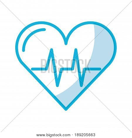 shadow blue heart beat pulse cartooon vector graphic design