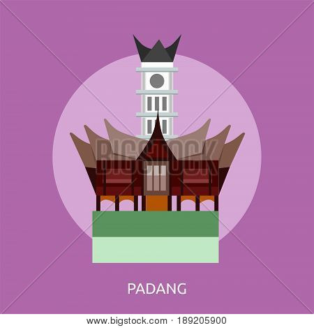 Padang City of Indonesia Conceptual Design | Set of great flat design illustration concepts for city, indonesian, travel and much more.