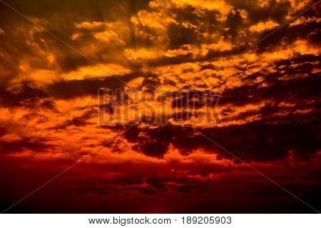 Dark couds rainy storm sky sunset background blur of focus