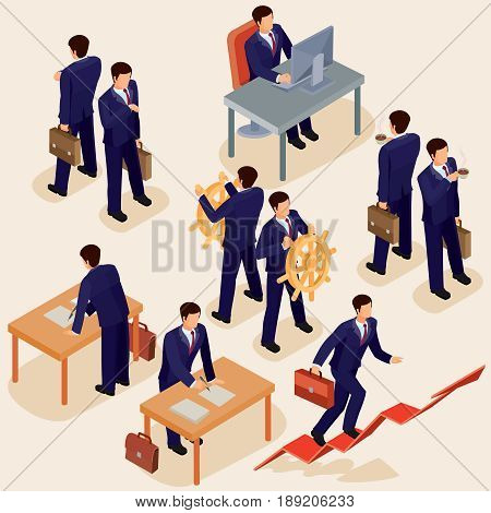 illustration of 3D flat isometric people. The concept of a business leader, lead manager, CEO. Boss, his vision and personal success.