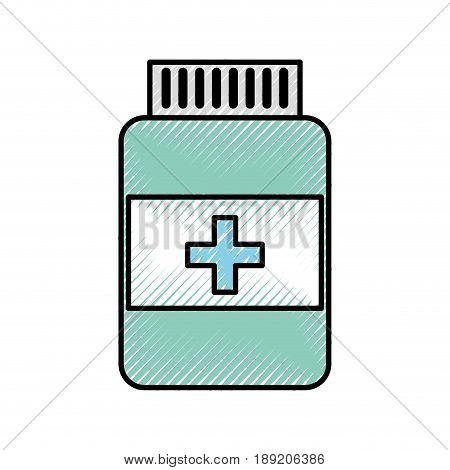 scribble blue pill bottle cartoon vector grpahic design