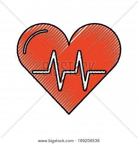 scribble red heart beat pulse cartooon vector graphic design