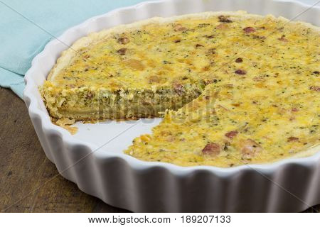 Bacon and cheese quiche - Savoury baked pie background
