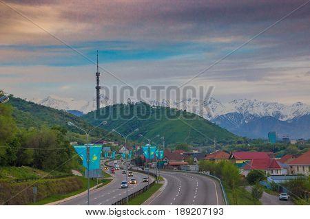 ALMATY KAZAKHSTAN - MAY 6: Kok Tobe hill and TV tower. City view on May 6 2017 in Almaty Kazakhstan.