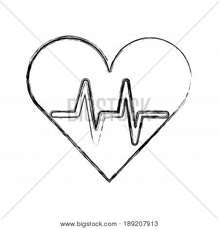sketch draw heart beat pulse cartooon vector graphic design
