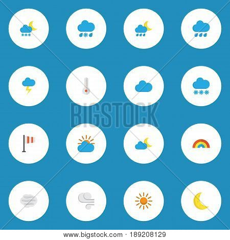 Meteorology Flat Icons Set. Collection Of Hailstones, Crescent, Bow And Other Elements. Also Includes Symbols Such As Blizzard, Temperature, Windy.