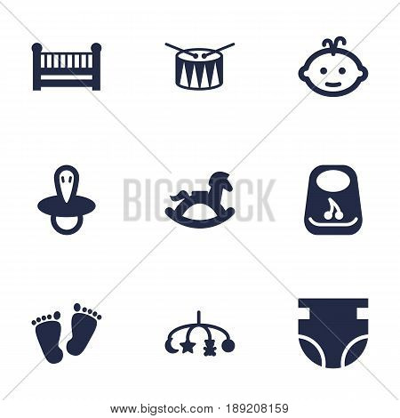 Set Of 9 Kid Icons Set.Collection Of Trace, Nappy, Cot And Other Elements.