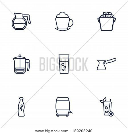 Set Of 9 Beverages Outline Icons Set.Collection Of Soda, Hotdrink, Wine Cask And Other Elements.