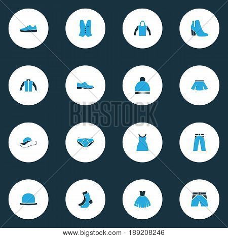Garment Colorful Icons Set. Collection Of Skirt, Socks, Jacket And Other Elements. Also Includes Symbols Such As Hoodie, Boots, Sweatshirt.
