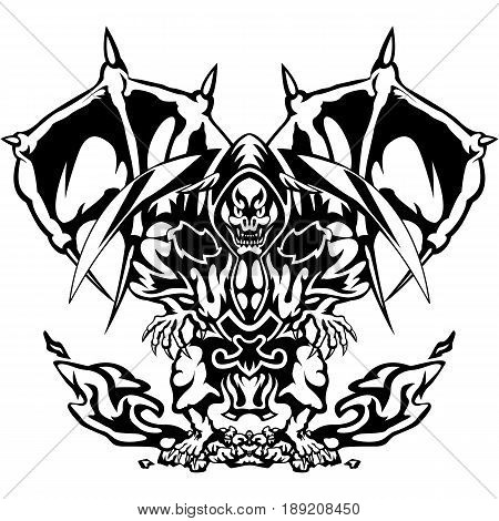 The devil in an aggressive stance. Vector illustration of a devil, demon, death with a sickle, isolated on white background.