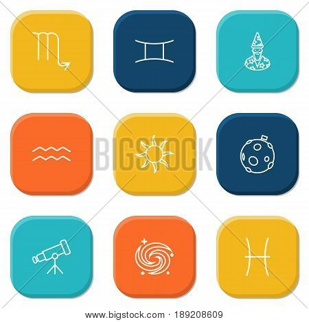 Set Of 9 Astronomy Outline Icons Set.Collection Of Moon, Astrologer, Scorpion And Other Elements.